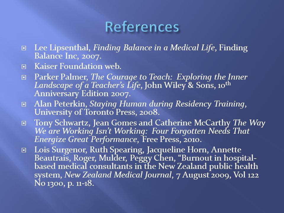  Lee Lipsenthal, Finding Balance in a Medical Life, Finding Balance Inc, 2007.