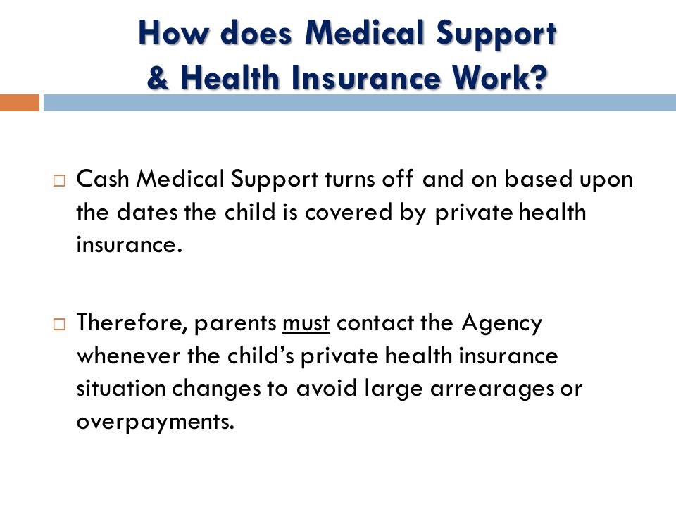  Cash Medical Support turns off and on based upon the dates the child is covered by private health insurance.