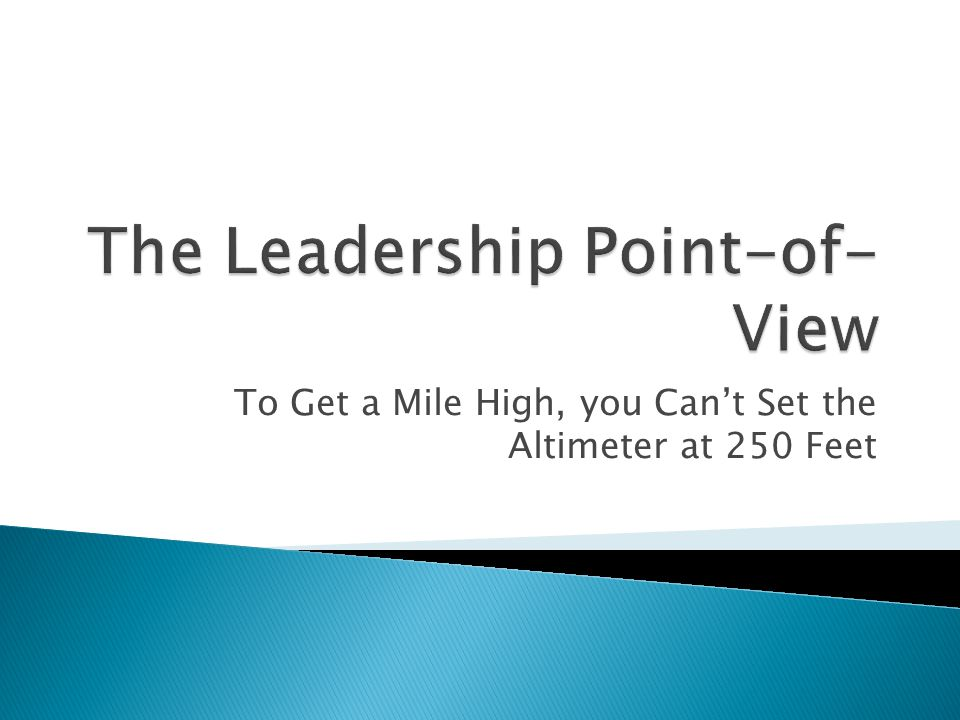 To Get a Mile High, you Can't Set the Altimeter at 250 Feet