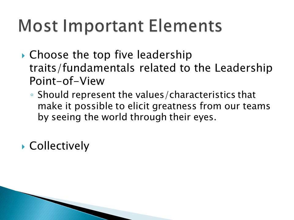  Choose the top five leadership traits/fundamentals related to the Leadership Point-of-View ◦ Should represent the values/characteristics that make it possible to elicit greatness from our teams by seeing the world through their eyes.