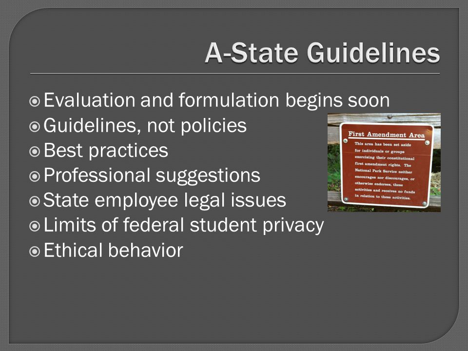  Evaluation and formulation begins soon  Guidelines, not policies  Best practices  Professional suggestions  State employee legal issues  Limits of federal student privacy  Ethical behavior