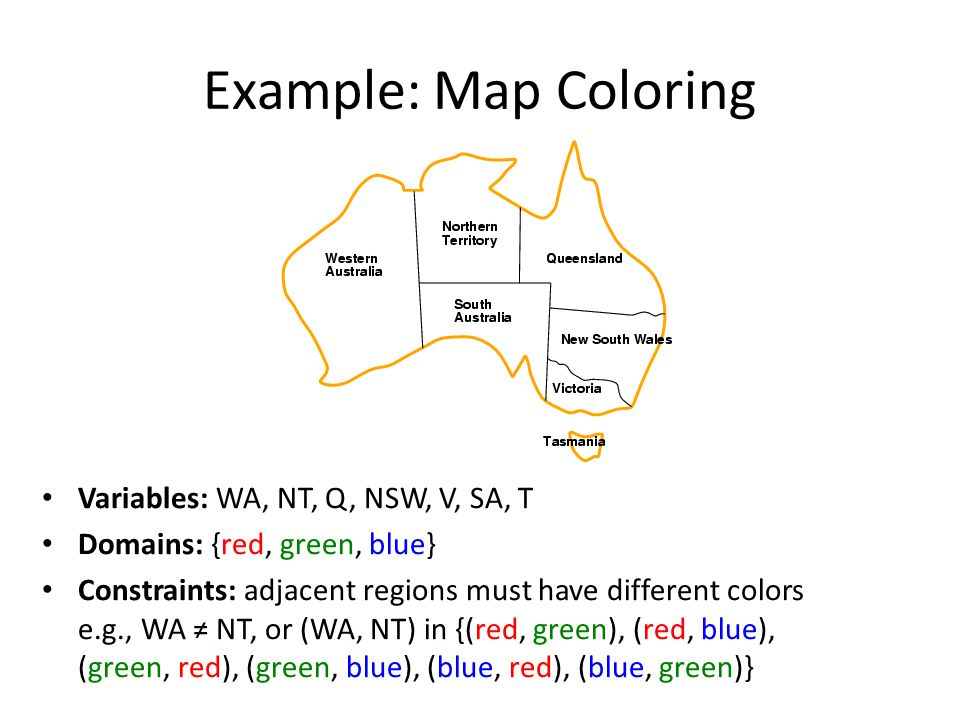 Example: Map Coloring Variables: WA, NT, Q, NSW, V, SA, T Domains: {red, green, blue} Constraints: adjacent regions must have different colors e.g., WA ≠ NT, or (WA, NT) in {(red, green), (red, blue), (green, red), (green, blue), (blue, red), (blue, green)}