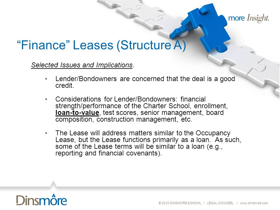 © 2013 DINSMORE & SHOHL | LEGAL COUNSEL | www.dinsmore.com Finance Leases (Structure A) Selected Issues and Implications.