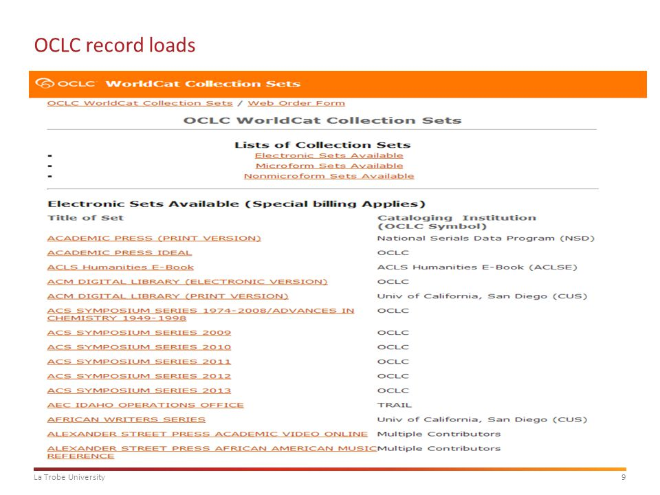 9La Trobe University OCLC record loads