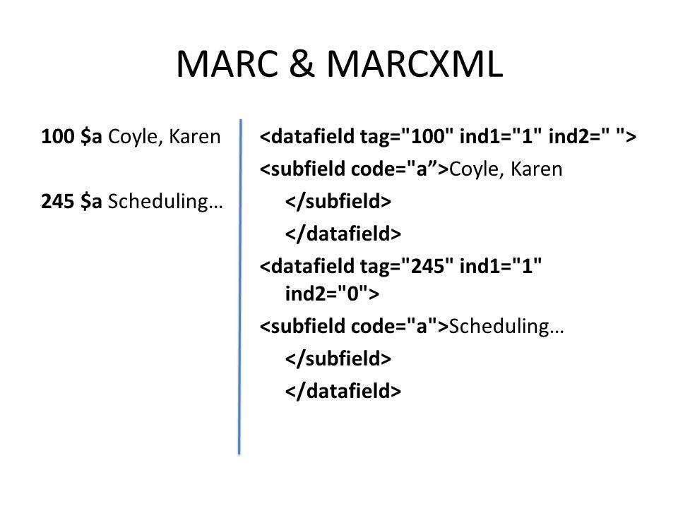 MARC & MARCXML 100 $a Coyle, Karen 245 $a Scheduling… Coyle, Karen Scheduling…