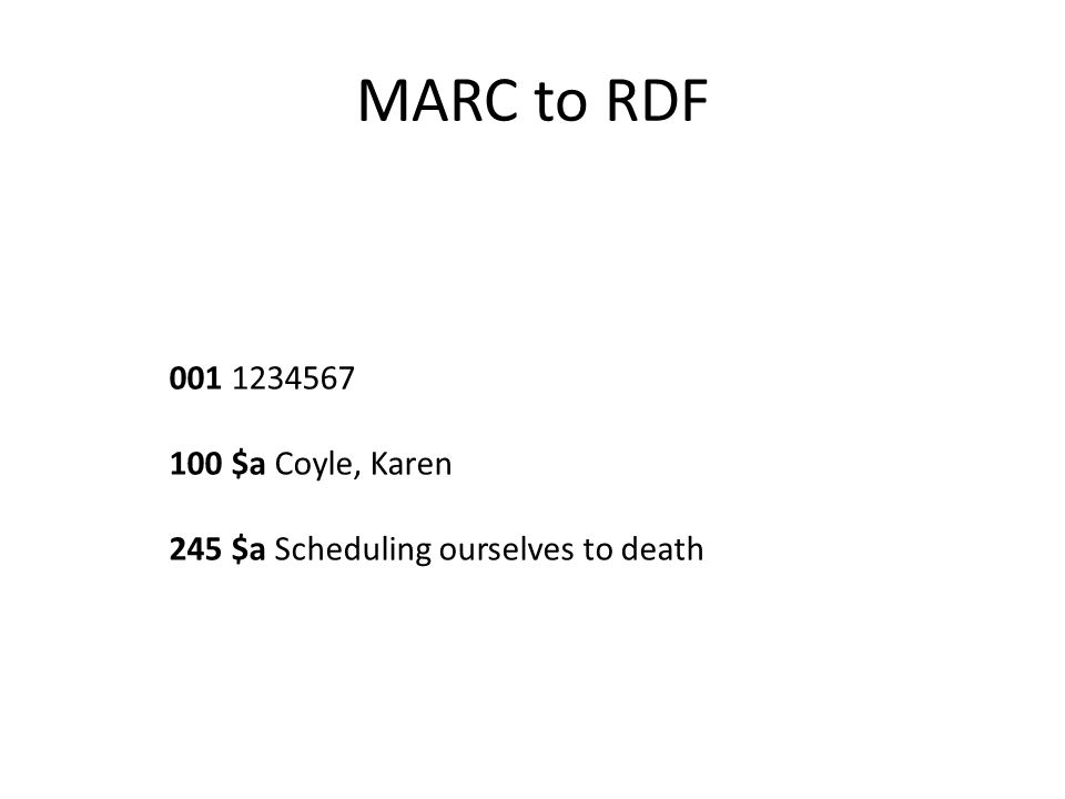 MARC to RDF 001 1234567 100 $a Coyle, Karen 245 $a Scheduling ourselves to death