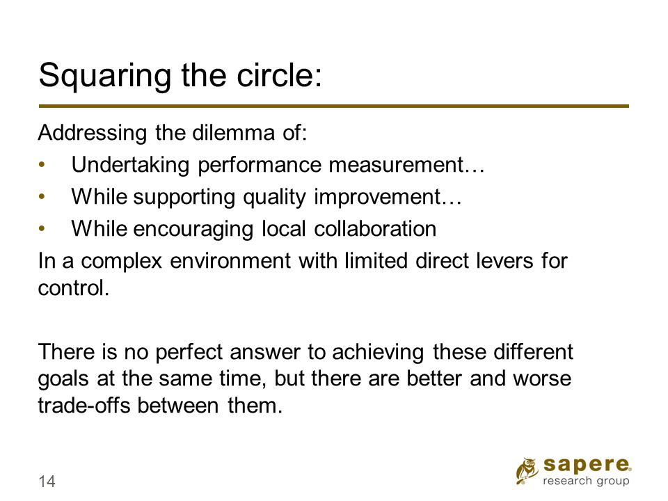 Squaring the circle: Addressing the dilemma of: Undertaking performance measurement… While supporting quality improvement… While encouraging local collaboration In a complex environment with limited direct levers for control.