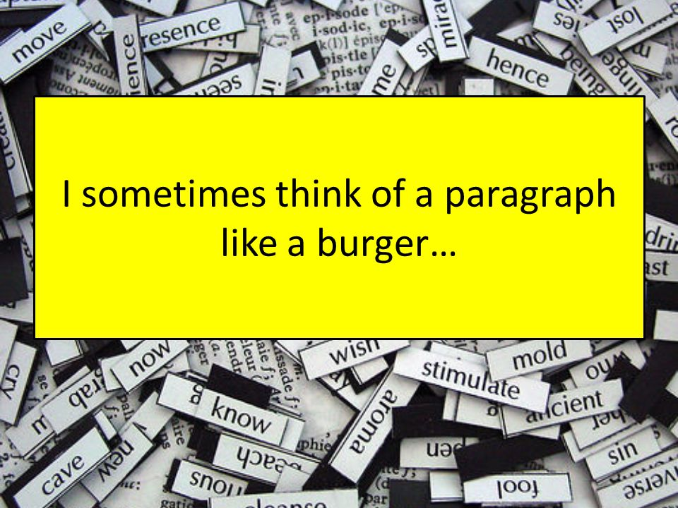 Think of … Top bun = the point you are making Explain = your analysis of the quotation – how this links to theme/character/setting The meat = your quotation The lettuce = language analysis and the connotations of words Can you add cheese.