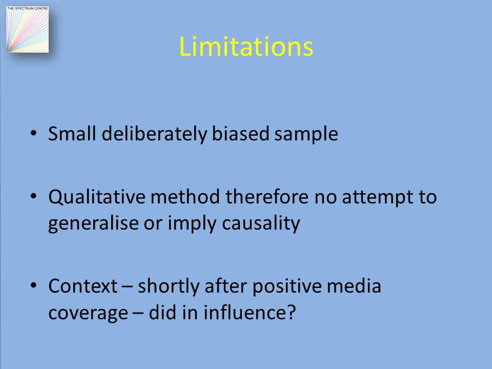 Limitations Small deliberately biased sample Qualitative method therefore no attempt to generalise or imply causality Context – shortly after positive media coverage – did in influence?