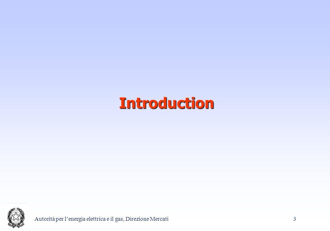 Autorità per l'energia elettrica e il gas, Direzione Mercati 3 Introduction