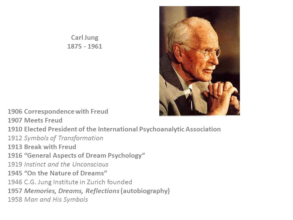 1906 Correspondence with Freud 1907 Meets Freud 1910 Elected President of the International Psychoanalytic Association 1912 Symbols of Transformation