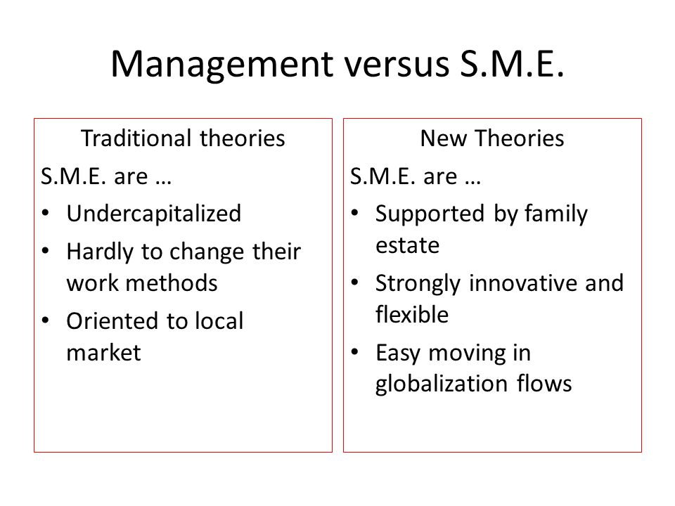 Management versus S.M.E. Traditional theories S.M.E.