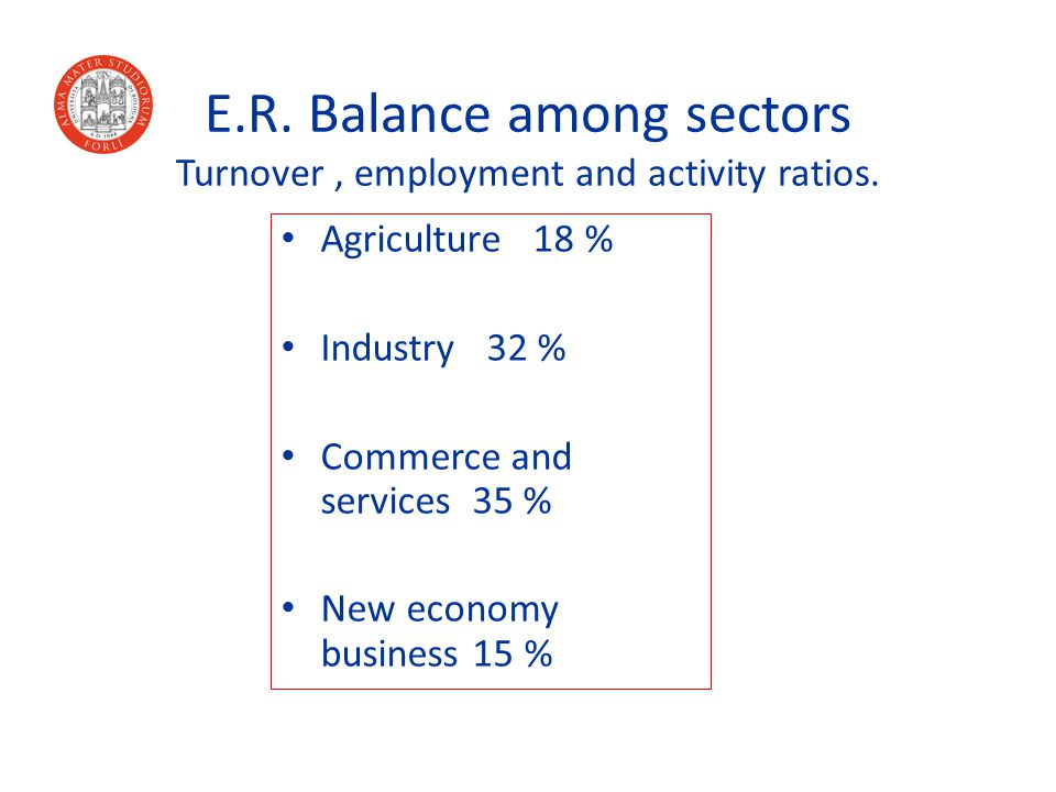E.R. Balance among sectors Turnover, employment and activity ratios.