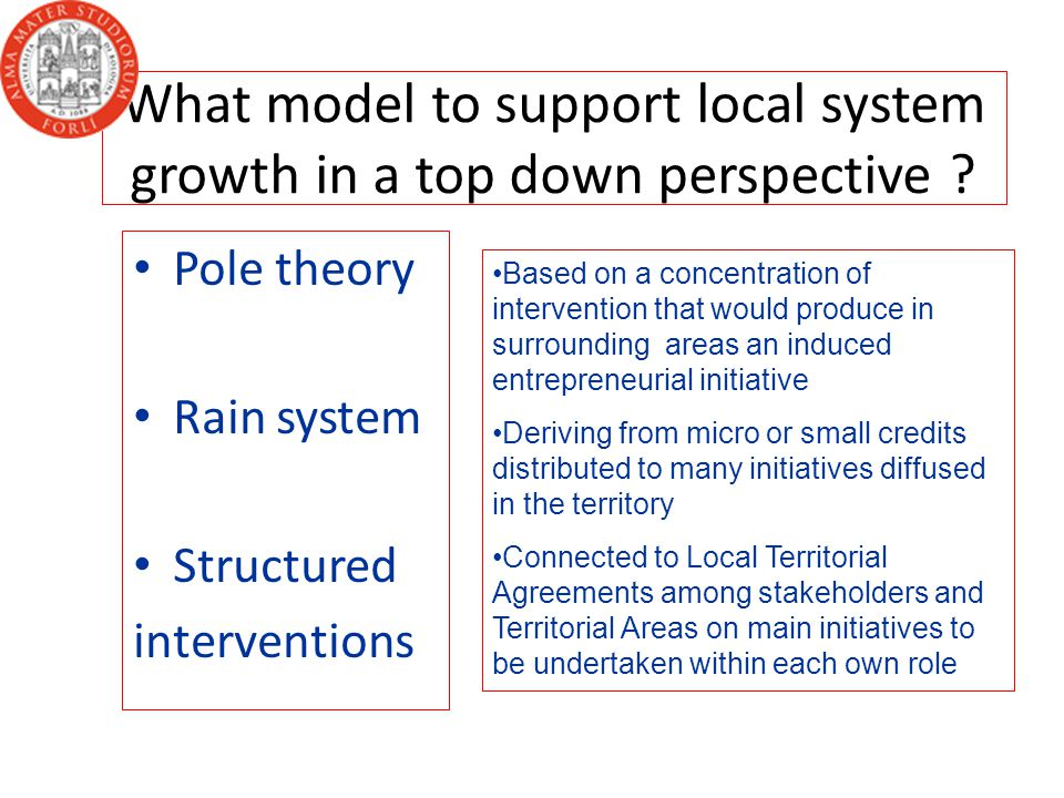 What model to support local system growth in a top down perspective .