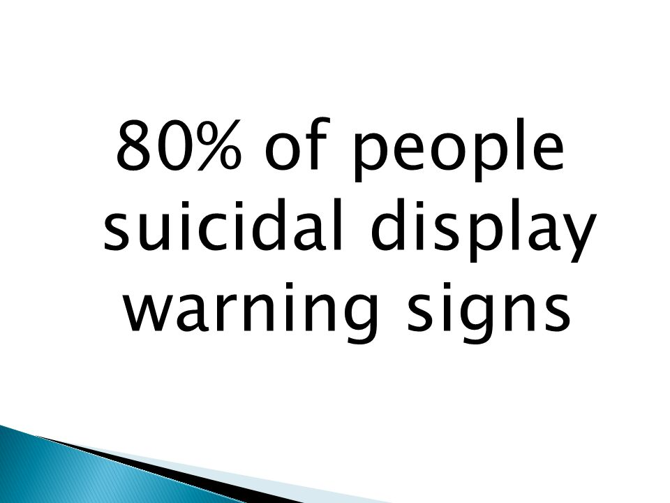 80% of people suicidal display warning signs