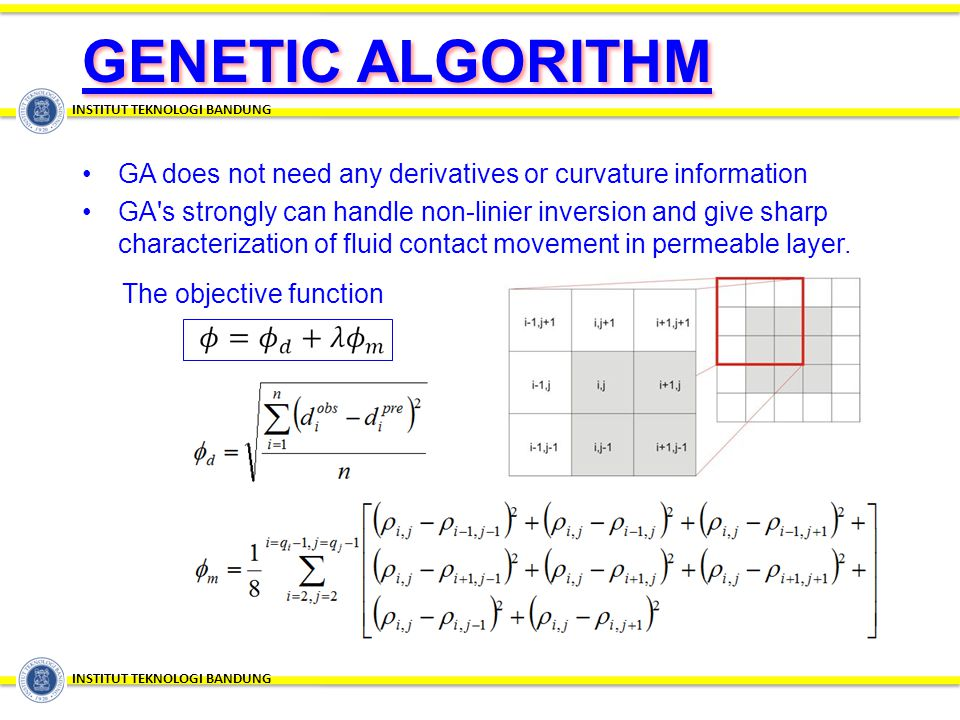 GA does not need any derivatives or curvature information GA's strongly can handle non-linier inversion and give sharp characterization of fluid conta