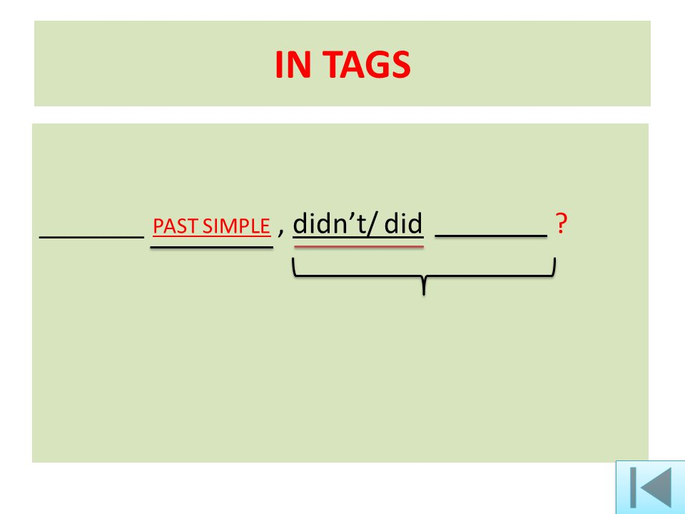 IN TAGS _______ PAST SIMPLE, didn't/ did ?