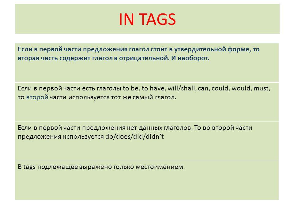IN TAGS Если в первой части предложения глагол стоит в утвердительной форме, то вторая часть содержит глагол в отрицательной. И наоборот. Если в перво
