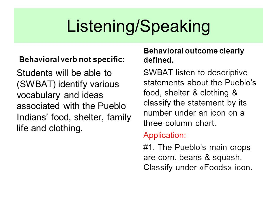 Listening/Speaking Behavioral verb not specific: Students will be able to (SWBAT) identify various vocabulary and ideas associated with the Pueblo Ind