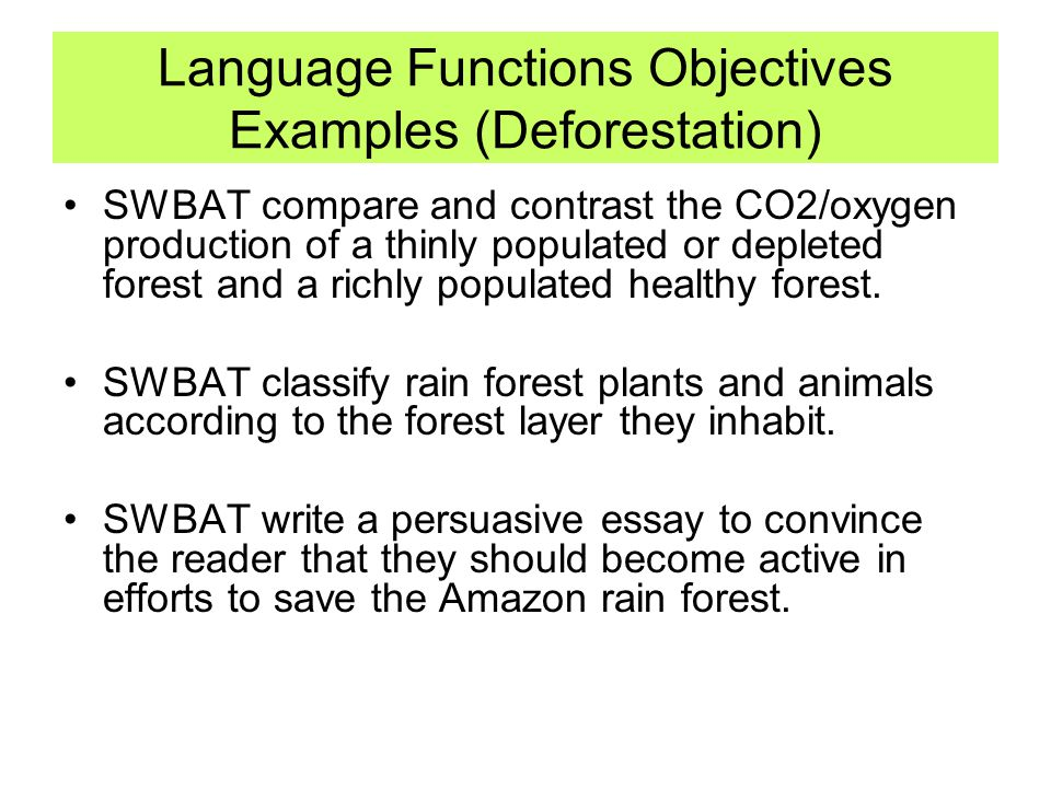 Language Functions Objectives Examples (Deforestation) SWBAT compare and contrast the CO2/oxygen production of a thinly populated or depleted forest a