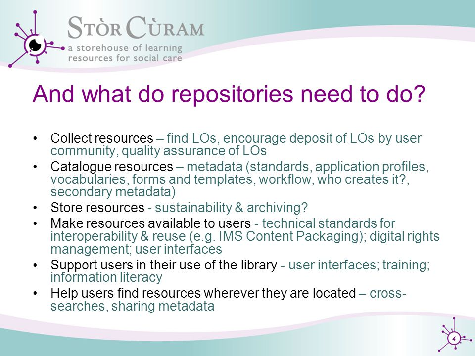 4 And what do repositories need to do.