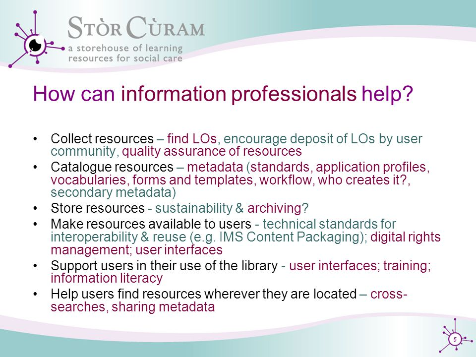 5 How can information professionals help.