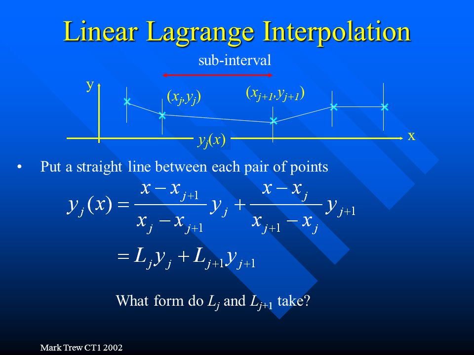 Mark Trew CT1 2002 Linear Lagrange Interpolation x y sub-interval Put a straight line between each pair of points (x j,y j ) (x j+1,y j+1 ) yj(x)yj(x) What form do L j and L j+1 take