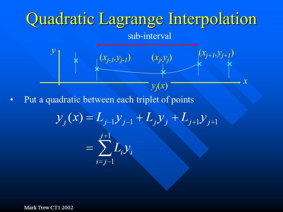 Mark Trew CT1 2002 Quadratic Lagrange Interpolation x y sub-interval Put a quadratic between each triplet of points (x j-1,y j-1 )(x j,y j ) yj(x)yj(x) (x j+1,y j+1 )