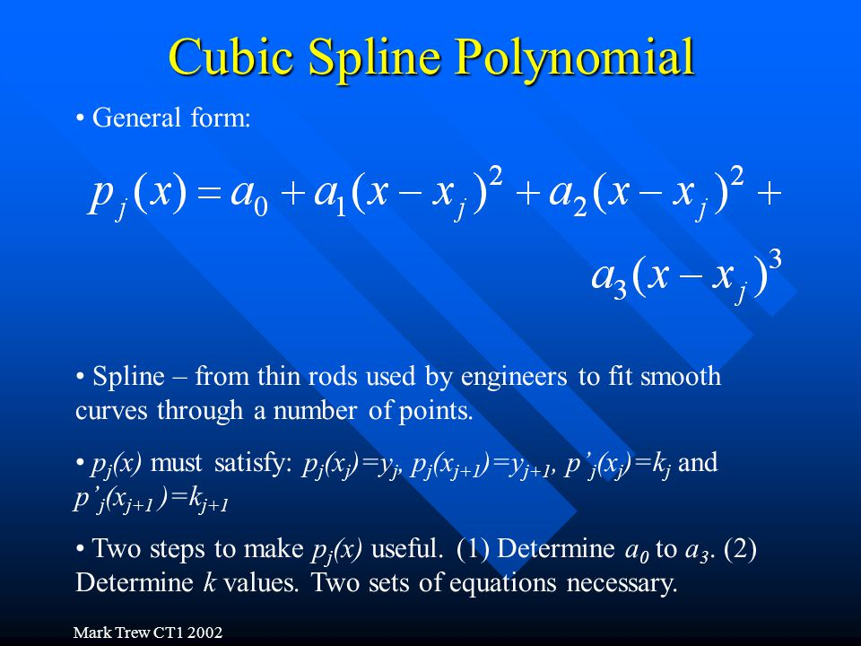 Mark Trew CT1 2002 Cubic Spline Polynomial General form: Spline – from thin rods used by engineers to fit smooth curves through a number of points.