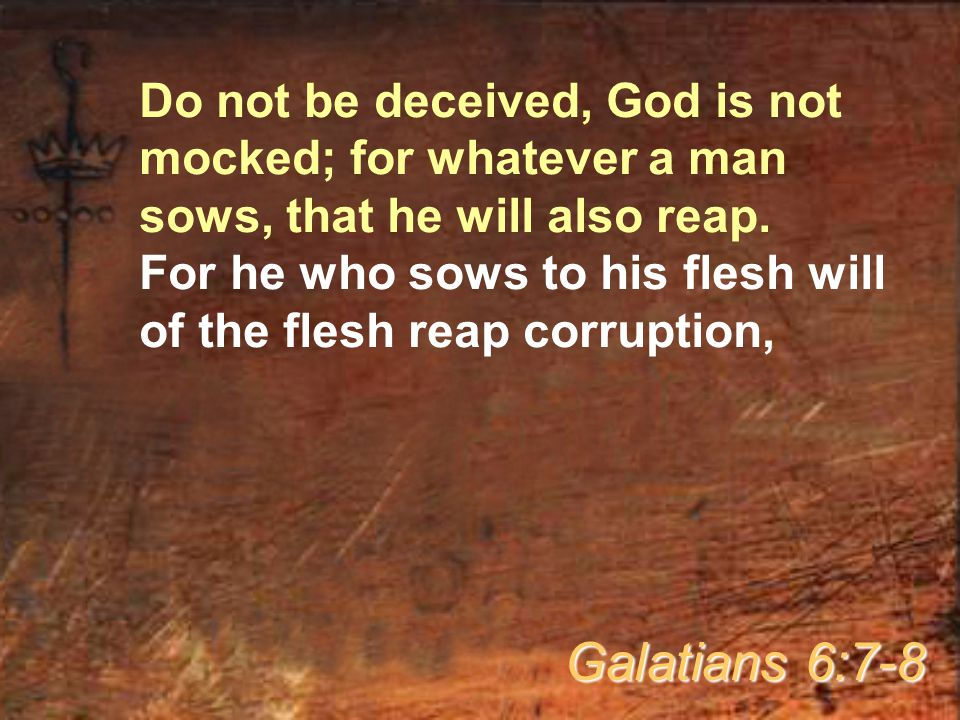 Do not be deceived, God is not mocked; for whatever a man sows, that he will also reap.