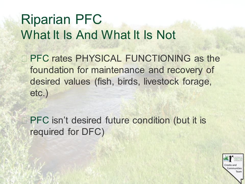 Riparian PFC What It Is And What It Is Not §PFC rates PHYSICAL FUNCTIONING as the foundation for maintenance and recovery of desired values (fish, birds, livestock forage, etc.) §PFC isn't desired future condition (but it is required for DFC)