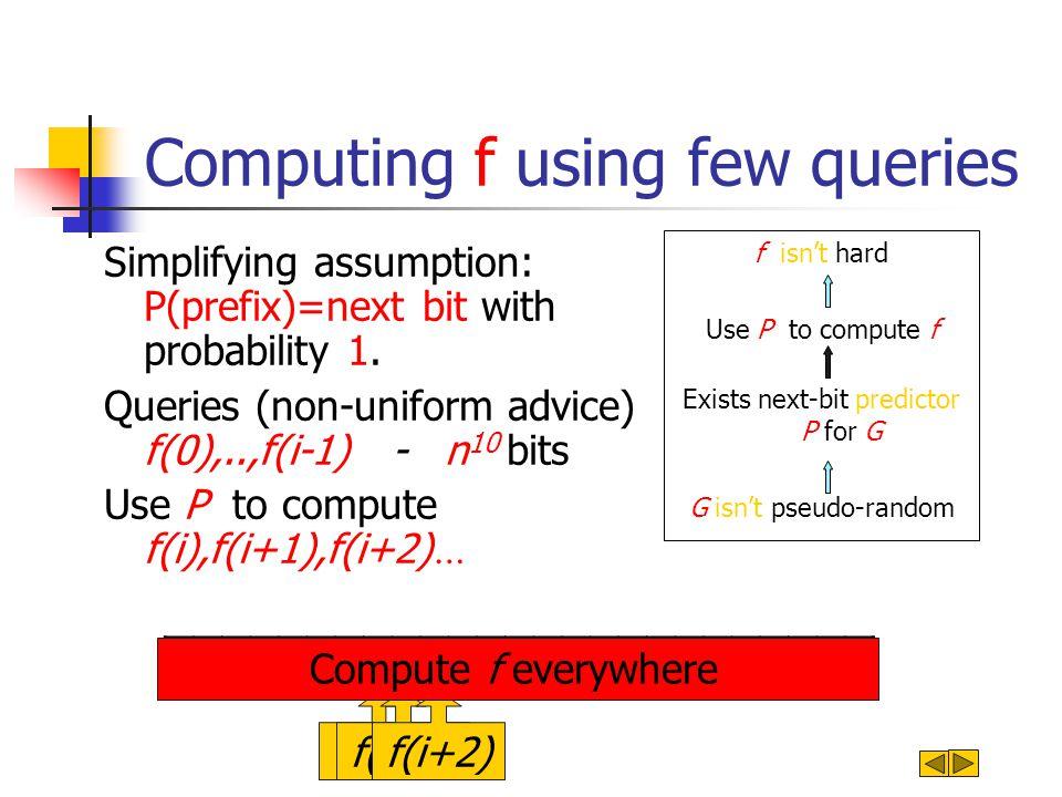 Computing f using few queries Simplifying assumption: P(prefix)=next bit with probability 1. Queries (non-uniform advice) f(0),..,f(i-1) - n 10 bits U