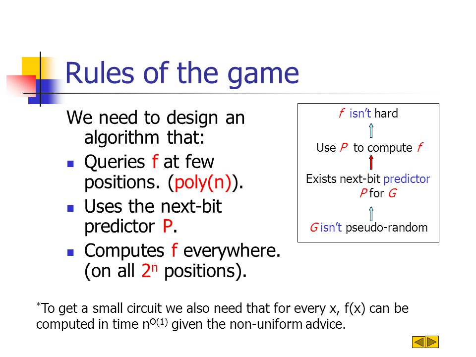 Rules of the game We need to design an algorithm that: Queries f at few positions. (poly(n)). Uses the next-bit predictor P. Computes f everywhere. (o