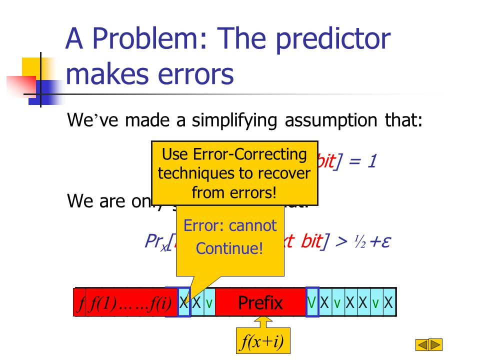 A Problem: The predictor makes errors We ' ve made a simplifying assumption that: Pr x [P(prefix)=next bit] = 1 We are only guaranteed that: Pr x [P(prefix)=next bit] > ½ +ε f(x)..f(x+i-1) f(x+i) vXvvXXXvXXvvvXvvXXVXvXXvX f(0)…f(i-1)f(1)……f(i) Error: cannot Continue.