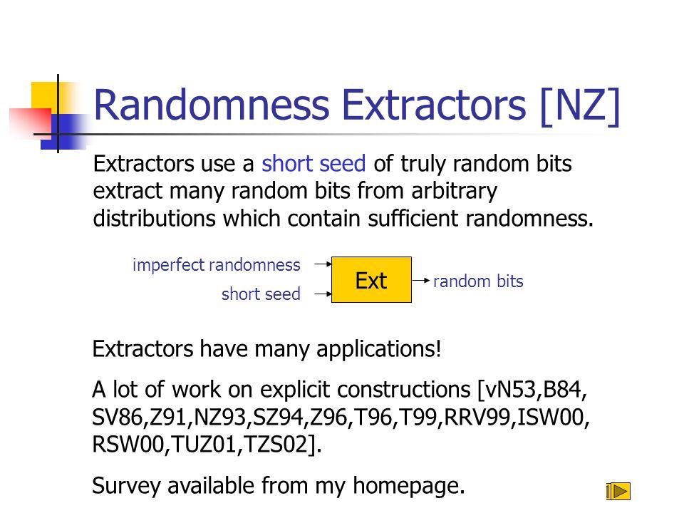 Randomness Extractors [NZ] random bits Ext short seed Extractors use a short seed of truly random bits extract many random bits from arbitrary distrib