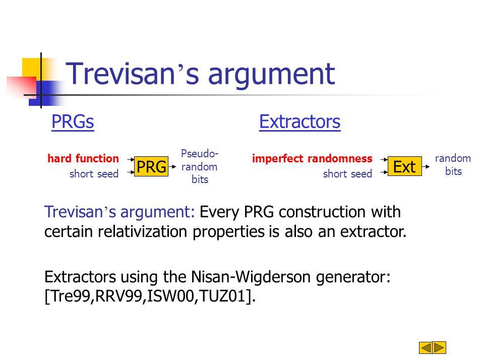 Trevisan ' s argument PRGsExtractors Pseudo- random bits PRG short seed hard function random bits Ext short seed imperfect randomness Trevisan ' s arg