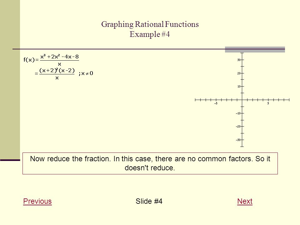 Graphing Rational Functions Example #4 PreviousPreviousSlide #4 NextNext Now reduce the fraction. In this case, there are no common factors. So it doe