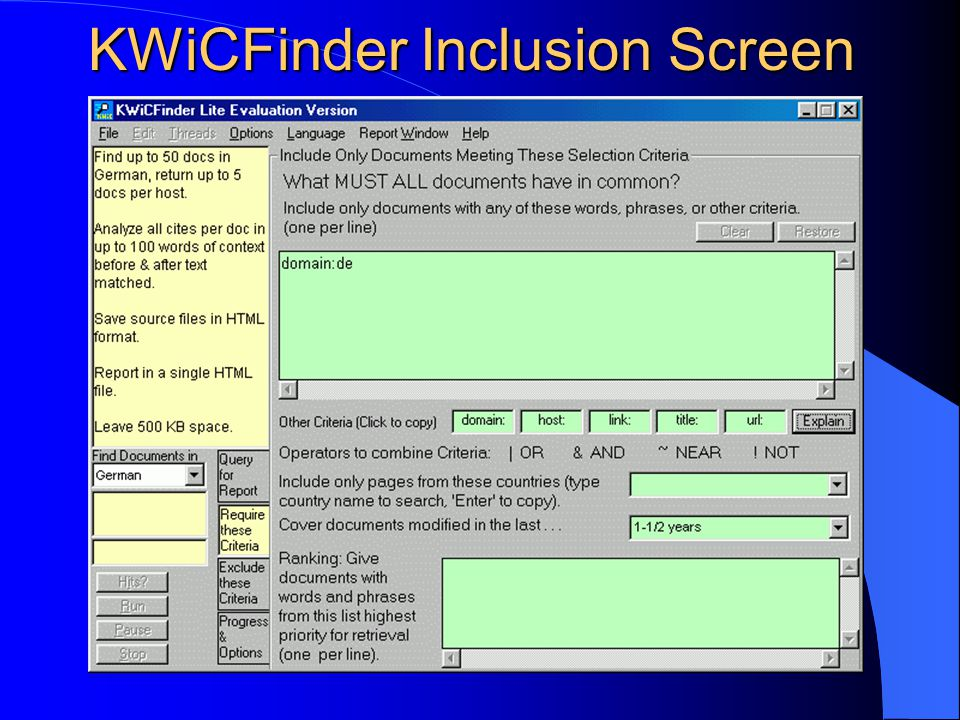 KWiCFinder Inclusion Screen