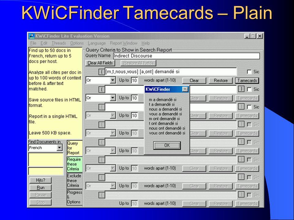 KWiCFinder Tamecards – Plain
