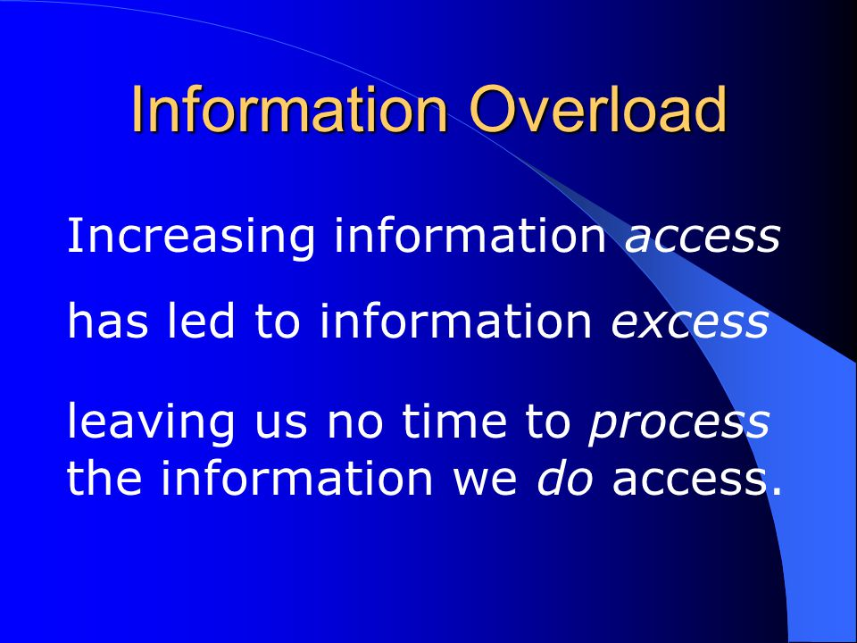 Increasing information access has led to information excess leaving us no time to process the information we do access. Information Overload