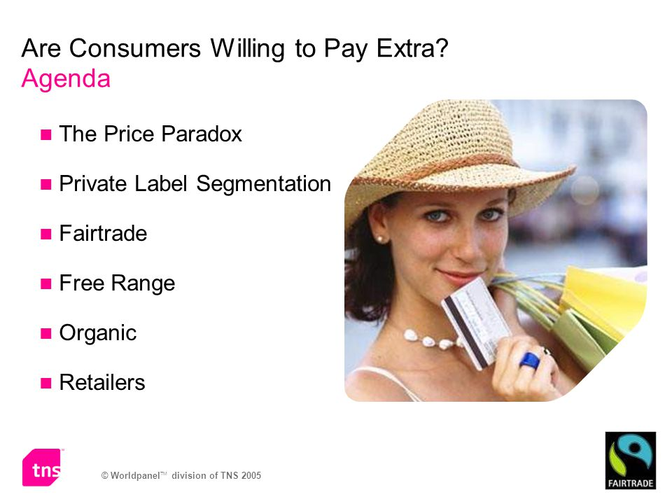 © Worldpanel TM division of TNS 2005 Are Consumers Willing to Pay Extra.