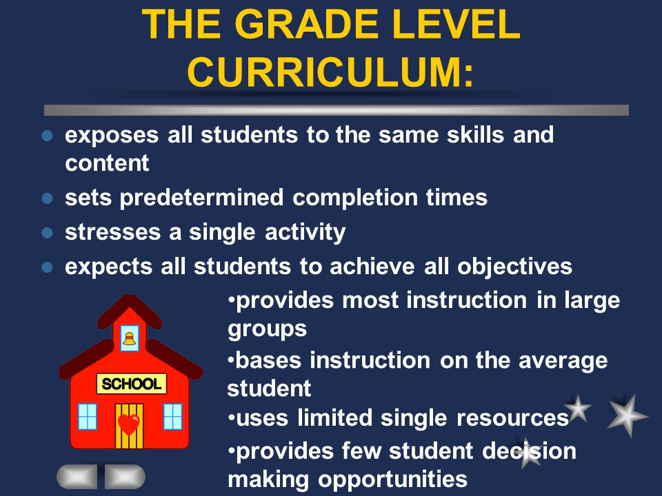 THE GRADE LEVEL CURRICULUM: exposes all students to the same skills and content sets predetermined completion times stresses a single activity expects all students to achieve all objectives provides most instruction in large groups bases instruction on the average student uses limited single resources provides few student decision making opportunities