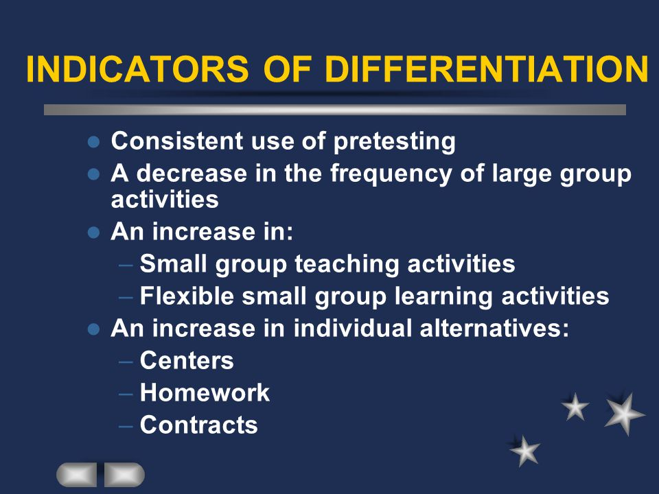 INDICATORS OF DIFFERENTIATION Consistent use of pretesting A decrease in the frequency of large group activities An increase in: –Small group teaching activities –Flexible small group learning activities An increase in individual alternatives: –Centers –Homework –Contracts
