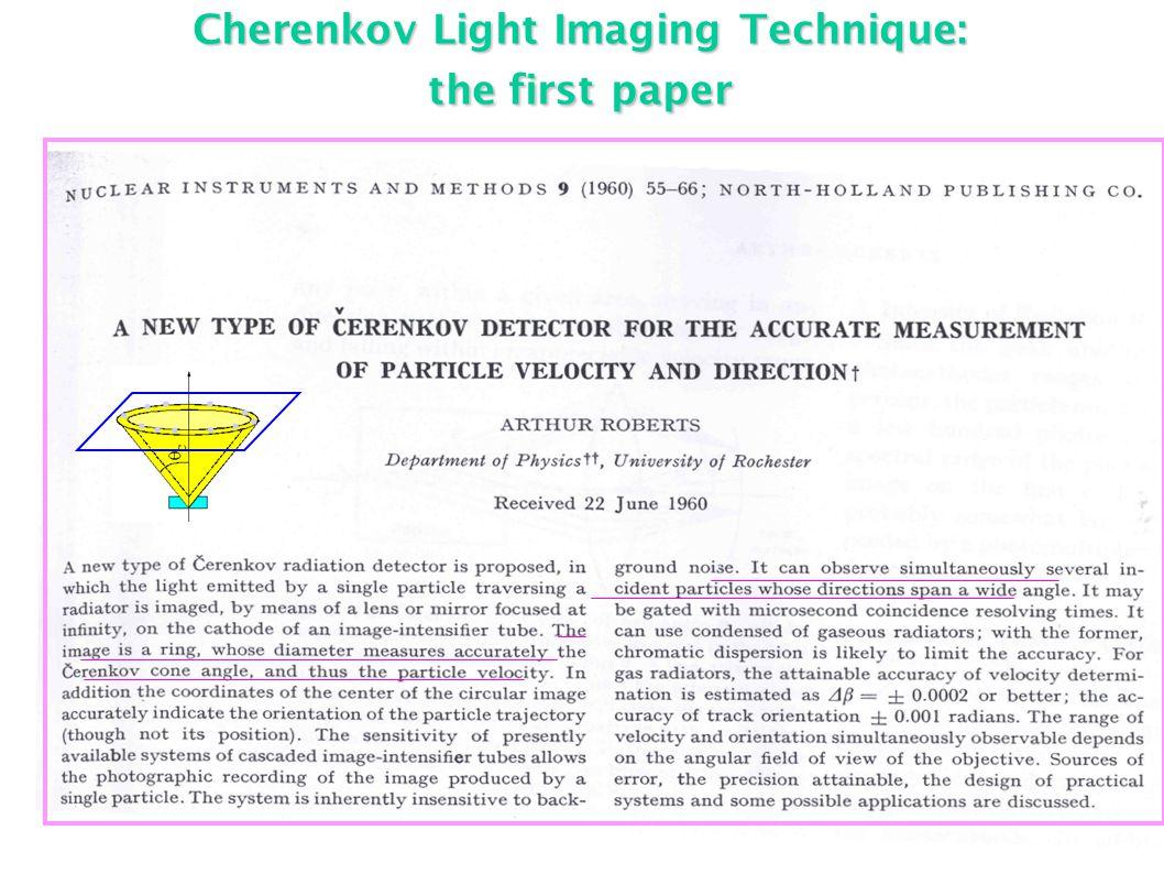 Cherenkov Light Imaging Technique: the first paper...........
