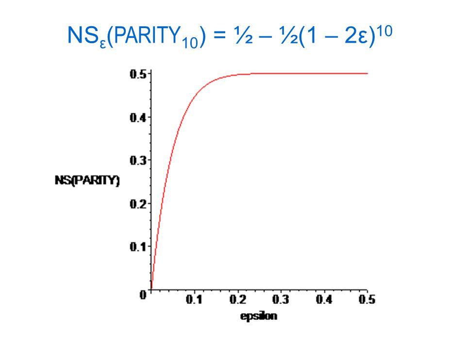 NS ε ( PARITY 10 ) = ½ – ½(1 – 2ε) 10