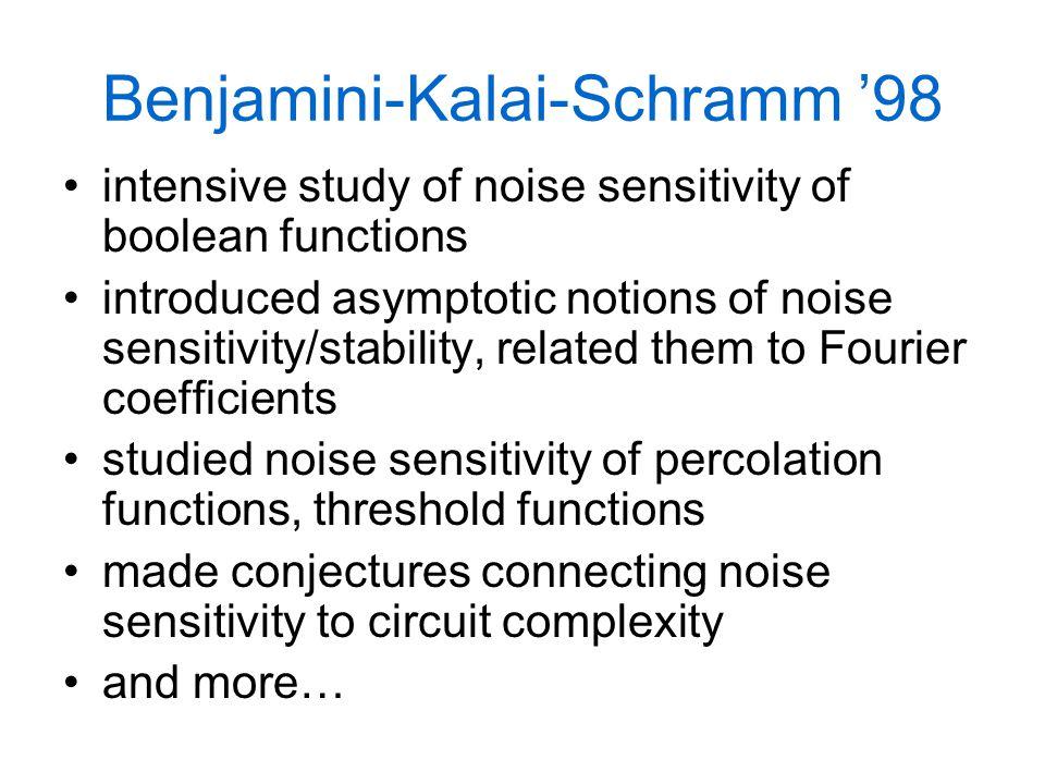 Benjamini-Kalai-Schramm '98 intensive study of noise sensitivity of boolean functions introduced asymptotic notions of noise sensitivity/stability, re