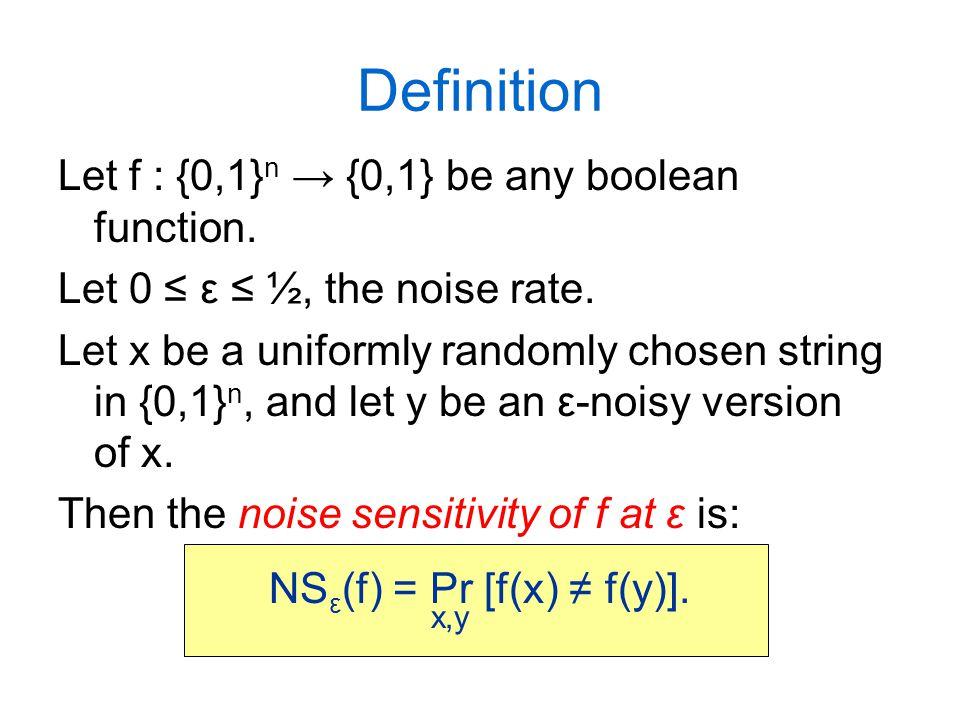 The T 1-2ε operator T 1-2ε operates on the space of functions {0,1} n → R: T 1-2ε (f) (x) = E [f(y)] (= Pr[f(y) = 1]).