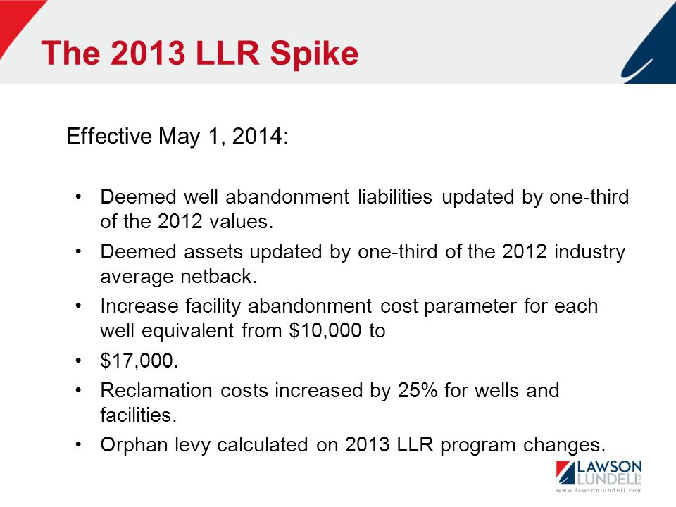 The 2013 LLR Spike Effective May 1, 2014: Deemed well abandonment liabilities updated by one-third of the 2012 values.