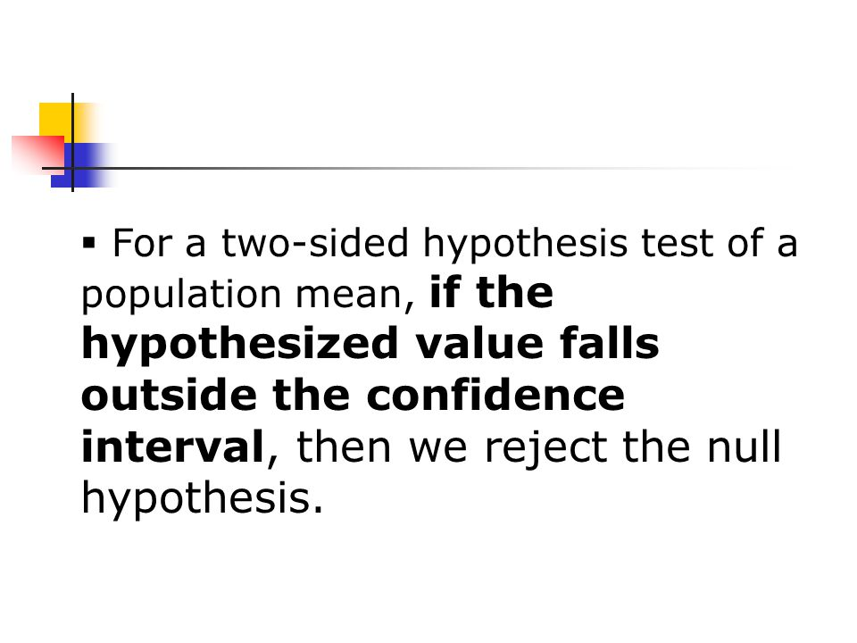  For a two-sided hypothesis test of a population mean, if the hypothesized value falls outside the confidence interval, then we reject the null hypothesis.