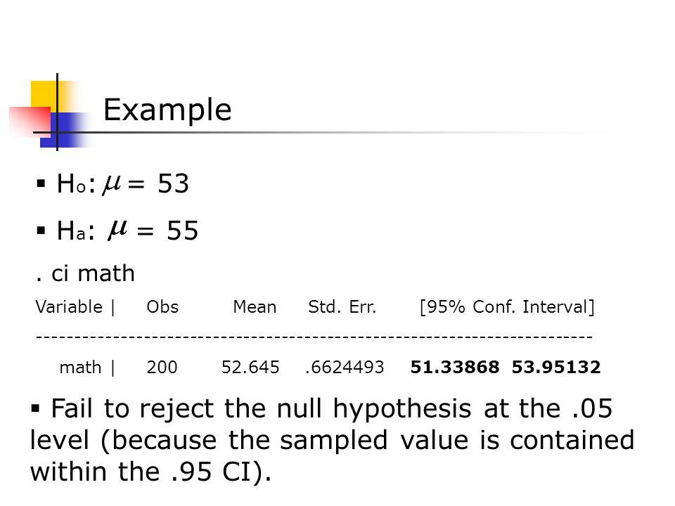  H o : = 53  H a : = 55. ci math Variable | Obs Mean Std.